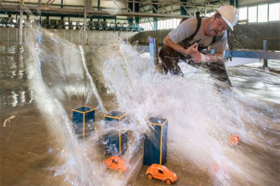 Researchers at Oregon State University, Corvallis, unleash tsunamis in a wave basin.